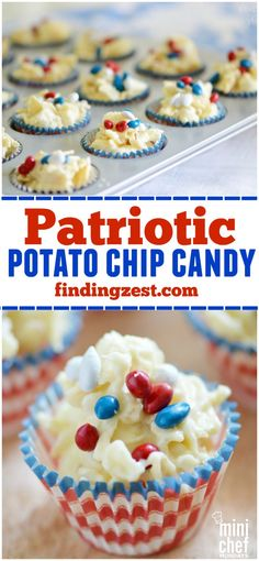 Patriotic Potato Chip Candy: This easy candy is a great combination of sweet and salty! Try this quick, no-bake dessert for 4th of July, Memorial Day or Labor Day.