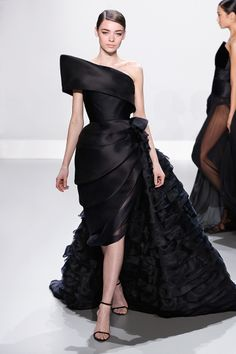 Ralph & Russo - Haute Couture Collection S/S14 - Look 09: Black silk gazar gown with asymmetric peplum and ruffle side bustle