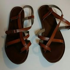 Mossimo supply  company leather sandals Size 11 womens strapped saddles. With buckle  some black dirt on bottom. Mossimo Supply Co Shoes Sandals