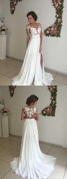 Lace Chiffon Wedding Dress, Ivory Wedding dress, Custom Made Wedding dress, Cheap Chiffon Wedding Dress, Light Ivory Wedding Dress,Cheap Bridal Gowns