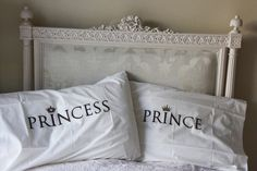 PRINCESS/PRINCE His and Hers,embroidered  pillow cases, wedding, anniversary bedding pillow cases, Bedroom set, unique pillows, love pillows on Etsy, $40.90