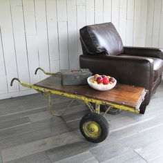 """Distressed Industrial Cart - Hand Truck """"Industrial Chic Coffee Table - Side Table"""" Made of Wood and Steel by leapinglemming on Etsy"""