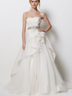 satin strapless beautiful wedding dress with tulle ruffled skirt