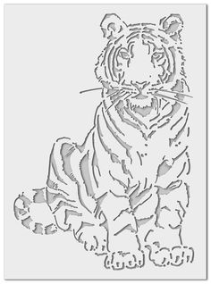 Discover thousands of images about Stencil Tiger Stencil Animal, Tiger Stencil, Stencils, Stencil Painting, Scroll Saw Patterns Free, Kirigami, Stencil Patterns, Airbrush Art, Paper Cutting