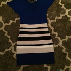 Express bandage skirt Beige white black and blue striped skirt with side zipper!! Can only ship sat and sun!! No trades or PayPal!! Express Skirts Mini