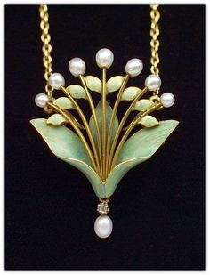 ANDRÉ RAMBOUR   Art Nouveau Lily-of-the-Valley. Pendant/Brooch. Gold Enamel Diamond Pearl. French, c.1900