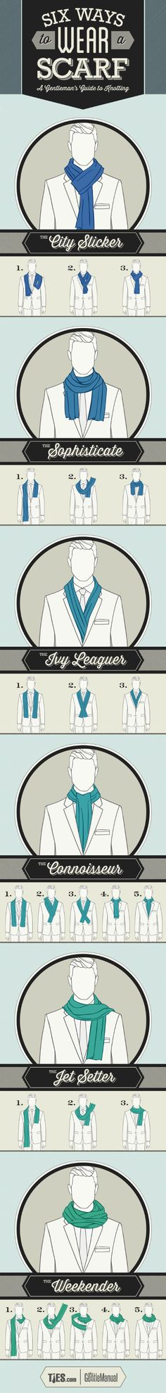 Six Ways To Wear A Scarf: Gentlemen's Guide To Scarf Tying #Infographic #LifeStyle #Clothing
