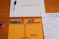 Linear equations using manipulatives. Great source for math middle school ideas. Math Teacher, Math Classroom, Teaching Math, Montessori, Seventh Grade Math, Math Expressions, Math Manipulatives, Numeracy, Math Quotes