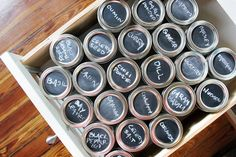 Haven't found a spice organization system that works for you? We used DIY chalkboard paint stickers and pint-sized jars in this storage project. #DIY #storage #organization
