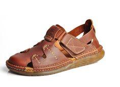 Handmade leather mens Fisherman Sandals closed Toe