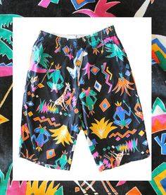 Bright geometric prints were all the rage in the 80's and are back for SS15. Mens 80's Vintage Swim Shorts