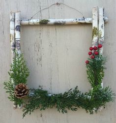Items similar to White Birch Christmas Wreath on Etsy : Cabin Decor Winter Wreath White Birch by CountryCraftsnflower Christmas Frames, Rustic Christmas, Christmas Wreaths, Christmas Decorations, Holiday Decor, Birch Tree Decor, Birch Bark Crafts, Birch Tree Wedding, Lodge Decor