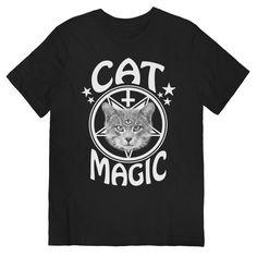 T-shirt Magic Cat sur noir unisexe tailles S, M, L, XL
