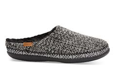 Black Black and White Sweater Knit Women's Ivy Slippers