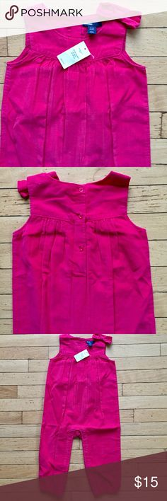 Cord bow one piece 💗 Cute toddler girl sleeveless one-piece with a bow accent on the shoulder. The color is called jellybean pink and is a bright, almost fuschia. Soft material, 100% cotton. GAP One Pieces Bodysuits