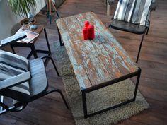 table bois, table vintage, table industrielle, table bois métal, vintage coffee table, wood table, industrial table, 50's table, black table, table noir, table patinée, hewel-mobilier.com