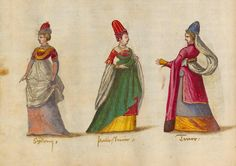 Mediaeval costumes of women from different classes in the Occident and the Orient. From 'Kostüme und Sittenbilder des 16. Jahrhunderts aus West- und Osteuropa, Orient, der Neuen Welt und Afrika' ('Costumes and Genre Pictures of the 16th Century from Western and Eastern Europe, the Orient, the Americas, and Africa'), 1560-70, published in Augsburg? For more: http://www.universalcompendium.com/gen_images/ucg/clothing/kostume/000costumes.htm