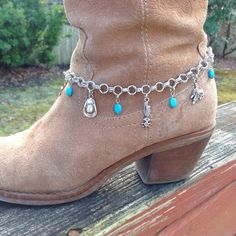 Silver Boot Bracelet Charm Boot Bling Western Boot by BalmDesigns Boot Jewelry, Cowgirl Jewelry, Anklet Jewelry, Western Jewelry, Anklets, Jewlery, Boot Bling, Cowgirl Bling, Bling Shoes
