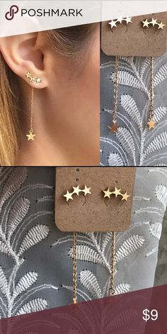 """☀️NEW☀️STARS Dangling Double Side Earrings Gold color. Chain is fastened to earring back and is worn behind the earlobe. Chain length, approximately 2"""" including star. Fashion jewelry. Post earrings for pierced ears. As with all merchandise, seller not responsible for fit nor comfort. Brand new boutique retail w/o tag. No trades, no off App transactions. ALL $9 jewelry is 2 for $15  ❗️PRICE IS FIRM UNLESS BUNDLED❗️ Leoninus Jewelry Earrings"""