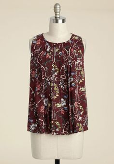In a Folding Pattern Tank Top - Red, Multi, Floral, Work, Boho, Sleeveless, Fall, Good, Crew, Chiffon, Woven, Mid-length