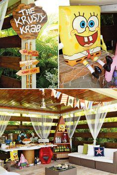 Spongebob Birthday Party with a Krusty Krab venue, Krabby Patty Birthday Cakes, Kelp Popcorn, Sea Horse Lollipops and adorable pineapple favors! Spongebob Birthday Party, 6th Birthday Parties, 25th Birthday, Birthday Cakes, Birthday Ideas, Spongebob Party Ideas, Spongebob Crafts, Spongebob Cartoon, Alice