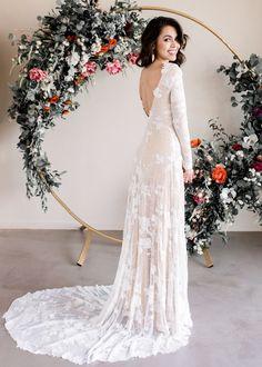 Bridal Open Back Wedding Dress Long Sleeve Wedding Dress Lace Long Indie Wedding Dress, Open Back Wedding Dress, Lace Wedding Dress With Sleeves, Long Wedding Dresses, Wedding Gowns, Modest Wedding, Wedding Venues, Simply Wedding Dress, Delicate Wedding Dress