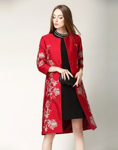 #AdoreWe Nexiia Red Plain Floral Embroidered Coat - AdoreWe.com