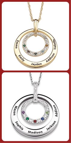 Circle diamond necklace features up to 5 children's names and birthstones.  Lovely Mother's Day gift for Mom or Grandma!  From $69.99