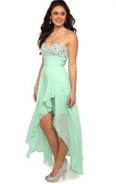 Strapless Dress with Beaded Stone Bodice and Cascade High Low Skirt