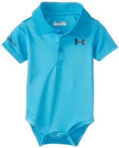 Under Armour Baby-Boys Newborn Polo Bodysuit, Pirate Blue/Black