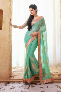 Blue Faux Georgette Saree with Printed and Lace Work - Rs. 3199 #holiday #movie #bollywood #designer #saree