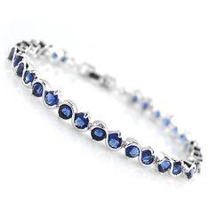 Pulsera de diamantes de imitación, metal, chapado en platina real, con circonia cúbica, azul real, libre de níquel, plomo & cadmio, 175x4mm, Vendido para aproximado 6.89 Inch Sarta,Abalorios de joyería por mayor de China