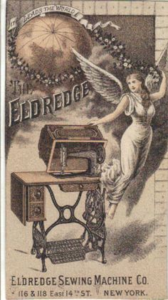 The Eldredge Sewing Machine Co Victorian Trade Card C1880s