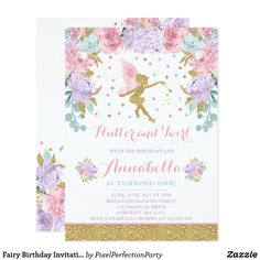 Fairy Birthday Invitation Whimsical Magical Party. Gorgeous 1st birthday party invitation.