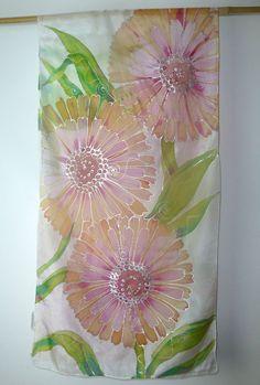 sale 30 % off Handpainted silk scarf pink by HeronDesignStudio