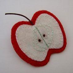 red felt APPLE SLICE brooch - made to order £10.00