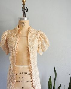 1930s lace duster with peach buttons - She had a handful of flaws but she's all mended and now she…