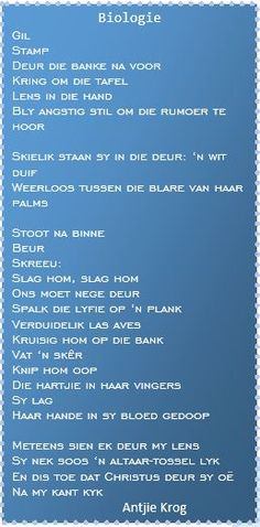 Antjie Krog Biologie Afrikaans, Vocabulary, Verses, Poetry, Language, Bling, Songs, Quotes, Biology