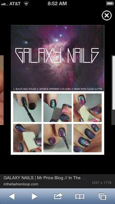 Galaxy Nails, Quick And Simple. someone say nails? Just as I thought so. Diy Nail Polish, Black Nail Polish, Nail Manicure, Diy Nails, Cute Nails, Galaxy Nail Art, Diy Galaxy, Sparkly Nails, Fabulous Nails