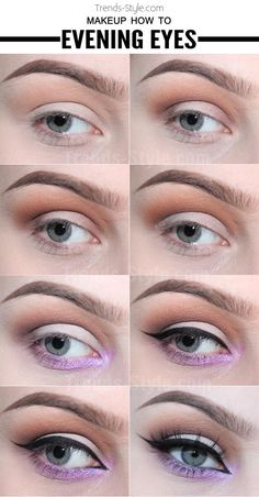 Makeup How To – Evening Eyes Beauty Makeup Tips, Eye Makeup, Beauty Hacks, Hair Makeup, Hair Beauty, Purple Makeup, Make Me Up, Makeup Brands, All Things Beauty