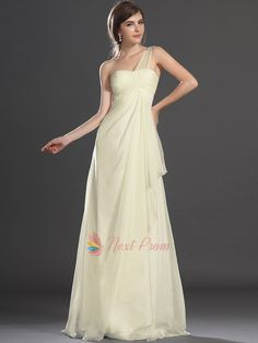 Pale Yellow One Shoulder Dress, Chiffon One Shoulder Draped Beaded Dress | Next Prom Dresses