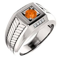 Fancy Rings for Men - 18K White Gold Man's 5 Round Cut Mexican Fire Opal and Diamond Ring / Mens Jewelry  Site: Project Fellowship