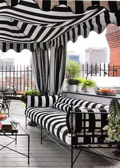French black and white stripe  black and white strip storefront awning