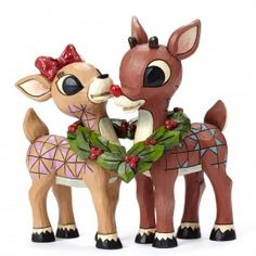 Rudolph and Clarice with Wreath Figurine - Rudolph Traditions