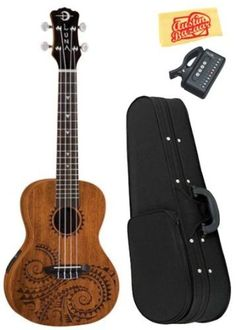 Luna Tattoo Concert Acoustic-Electric Ukulele Bundle with Hardshell Case, Tuner, and Polishing Cloth by Luna. $149.00. Bundle includes Luna Tattoo Concert Acoustic-Electric Ukulele, Hardshell Case, Tuner, and Polishing Cloth.This traditional concert uke takes its design from traditional hawaiian body ornamentation. Those designs were monochromatic, tattooed in black against brown skin, with strongly geometric patterns, and many shapes and symbols inspired by the n...
