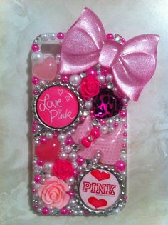 Pink Victorias Secret iPhone 4/4g/4s case by sparklingskye on Etsy