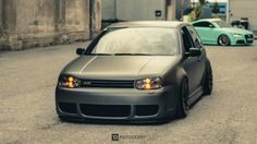 Volkswagen Golf Slammed Matte Grey The time was last month delivery is extremely late Volkswagen Golf Mk1, Vw Golf Tdi, Volkswagen Models, Golf 4, Golf 3 Cabrio, Vw R32 Mk4, Jetta A4, Vw Cars, Golf Bags