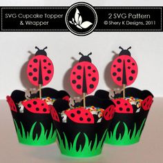 SVG Ladybug Cupcake Topper and Wrapper $1.50 on sale.