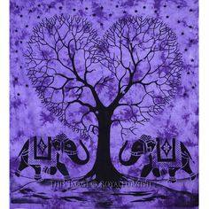 Purple Large Hippie Elephants With Love Tree College Tapestry Bedspread on RoyalFurnish.com, $27.99