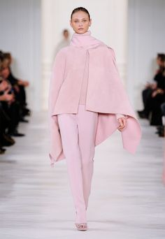 Soft, shimmering hues on the Ralph Lauren Collection Fall 2014 runway
